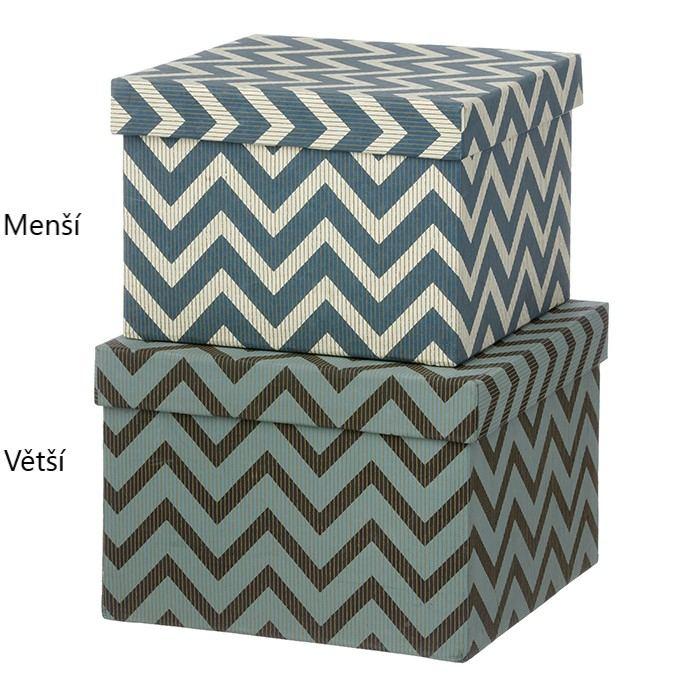 BUNGALOW Úložný box Wiggy Ocean Blue Větší, modrá barva, zelená barva, šedá barva, papír