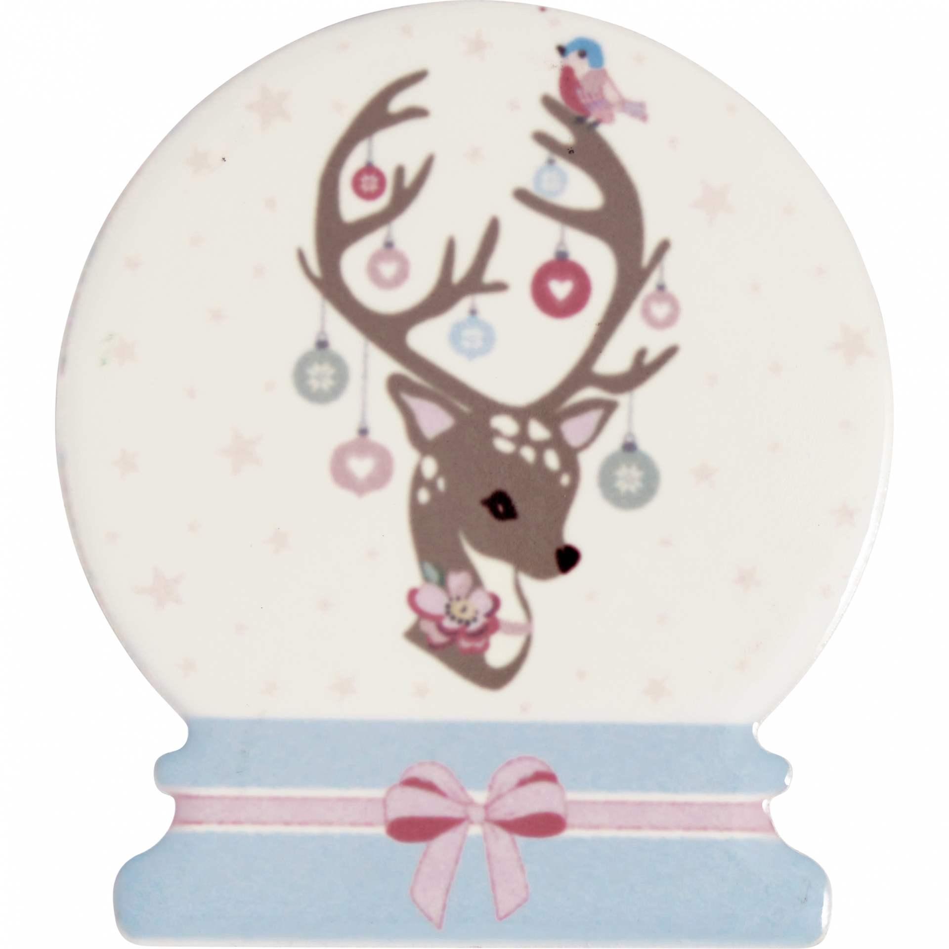 GREEN GATE Keramický magnet Dina Pale Pink - set 4 ks, růžová barva, modrá barva, porcelán