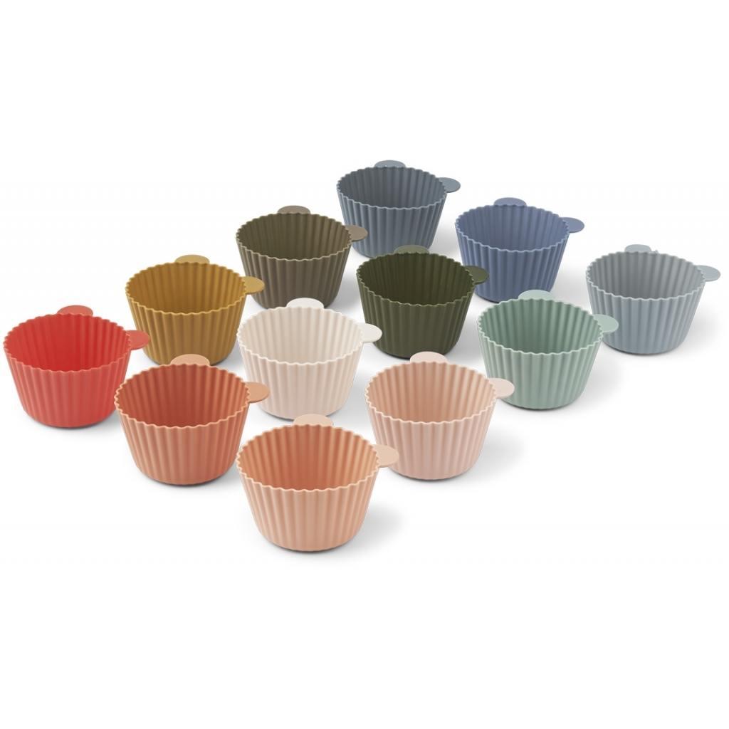 LIEWOOD Silikonové formy na muffiny Multi Mix - set 12 ks, červená barva, růžová barva, modrá barva, zelená barva, žlutá barva, béžová barva, šedá barva, hnědá barva, krémová barva