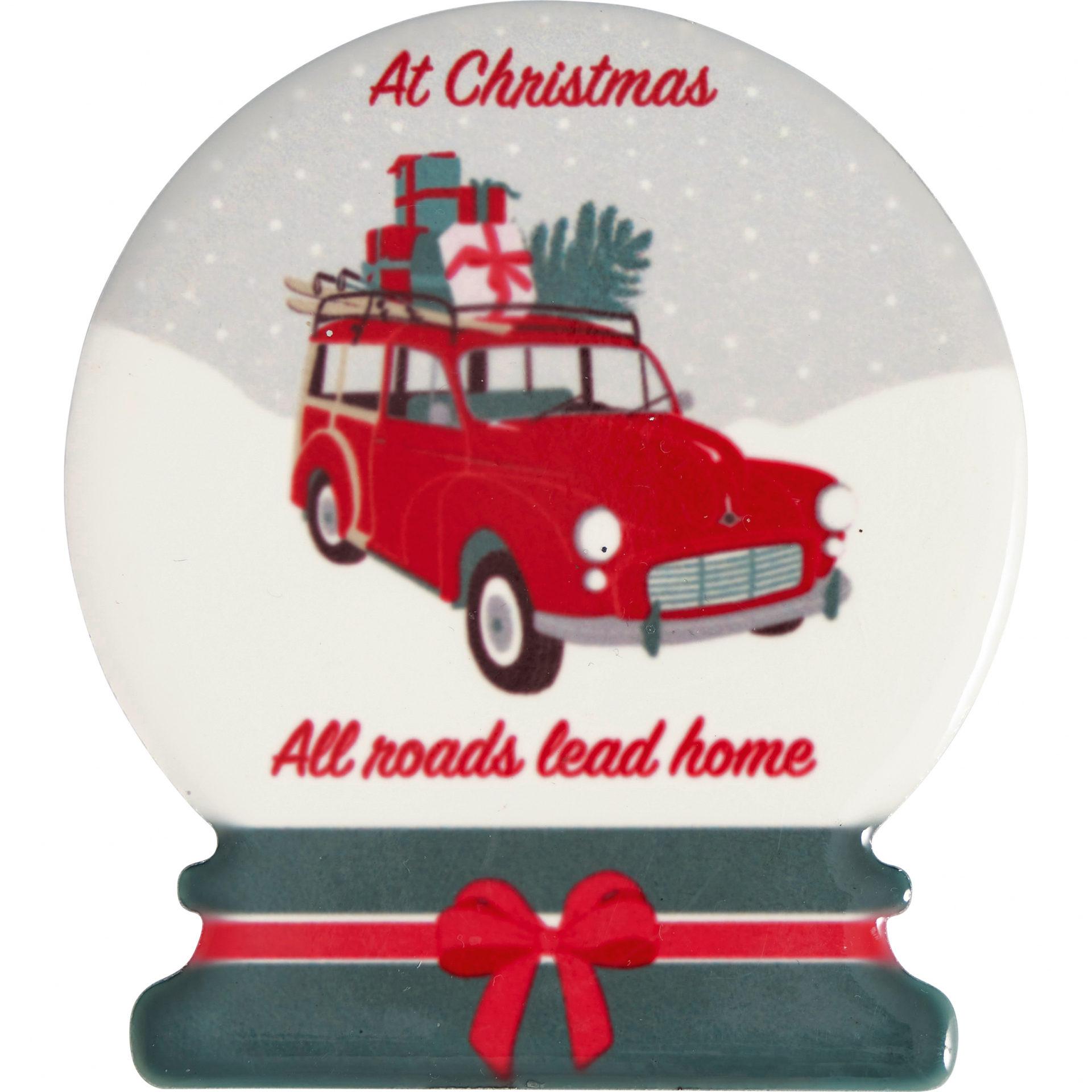 GREEN GATE Keramický magnet Christmas Car Red - set 4 ks, červená barva, bílá barva, keramika