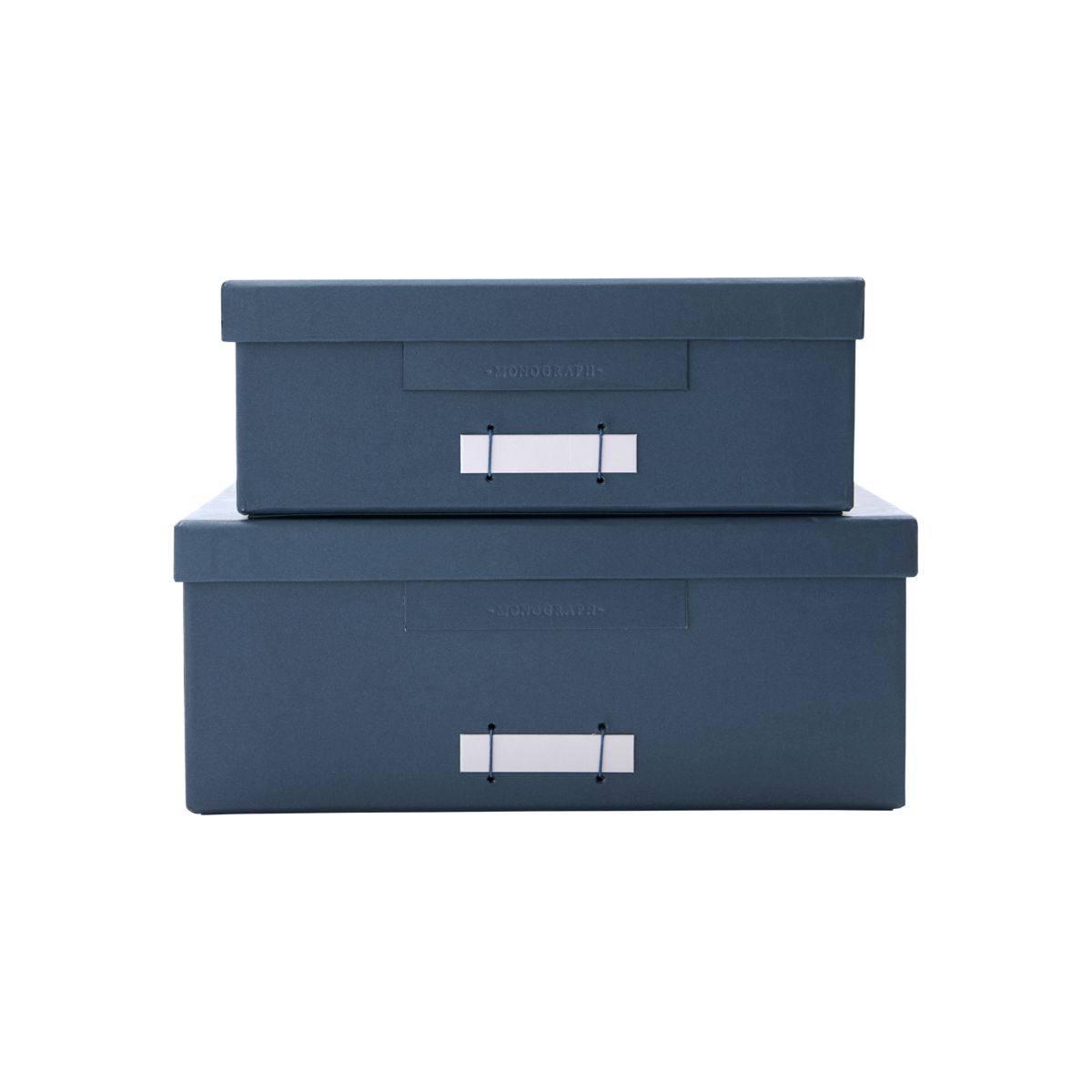 MONOGRAPH Papírový box na dokumenty Rectangle File Petrol Menší, modrá barva, papír