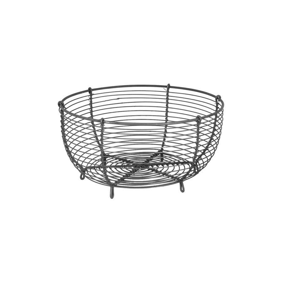 Strömshaga Drátěný košík Round Zink Small, šedá barva, stříbrná barva, kov