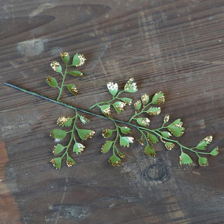 Chic Antique Dekorativní větvička Leaf Glitter, zelená barva, zlatá barva, plast