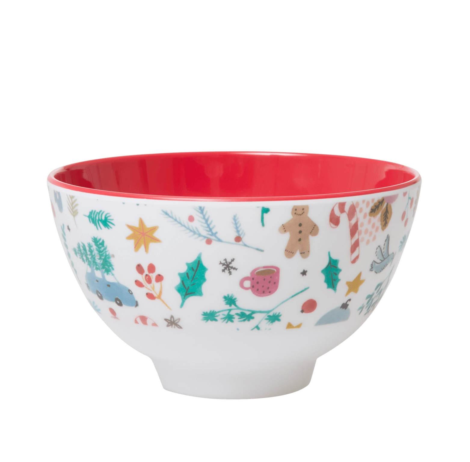 rice Melaminová vánoční miska All Over Xmas, červená barva, krémová barva, melamin