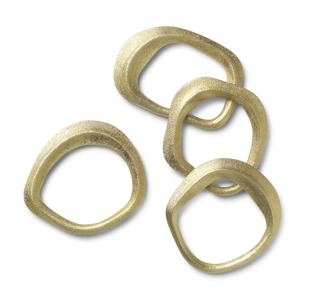 ferm LIVING Kroužky na ubrousky Brass - set 4 ks, zlatá barva, kov