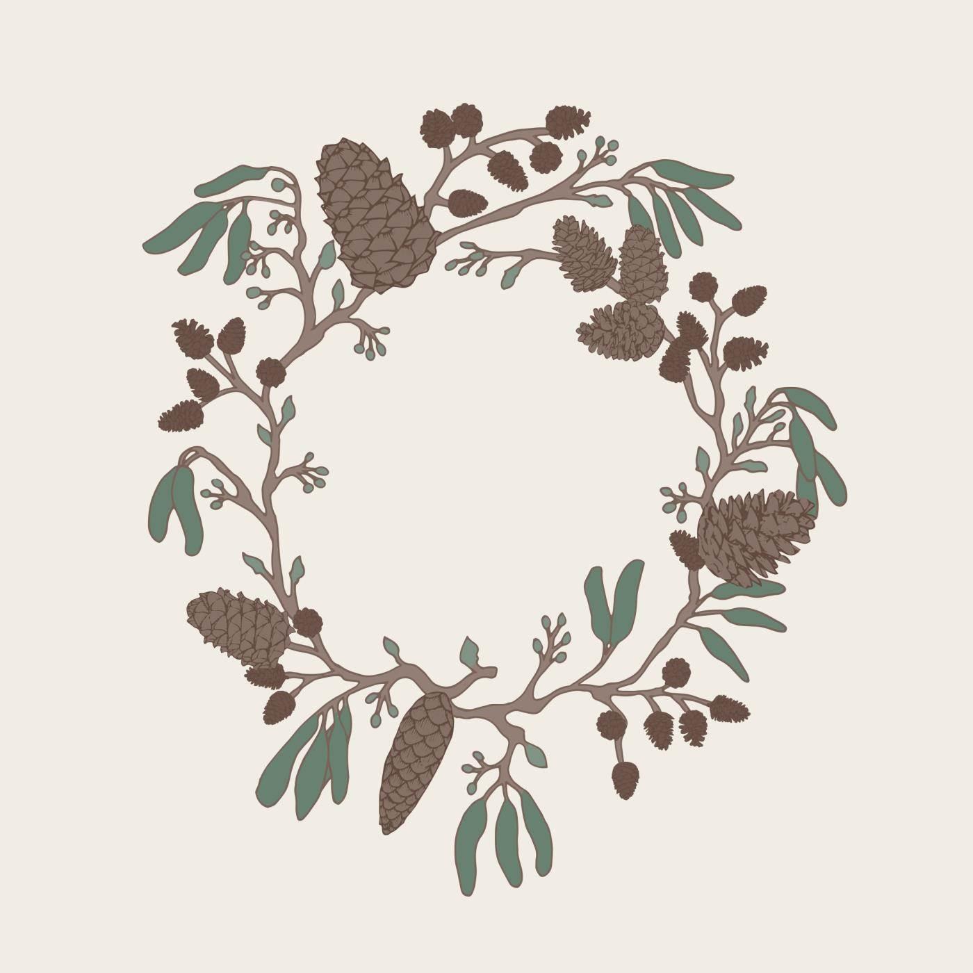 IB LAURSEN Papírové ubrousky Wreath of Cones, zelená barva, hnědá barva, papír