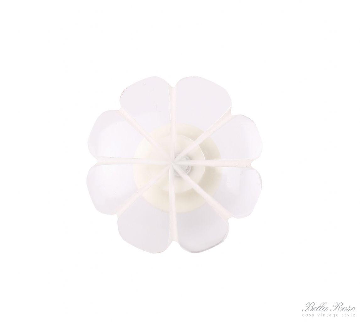 Hübsch Úchytka Flower, bílá barva, plast