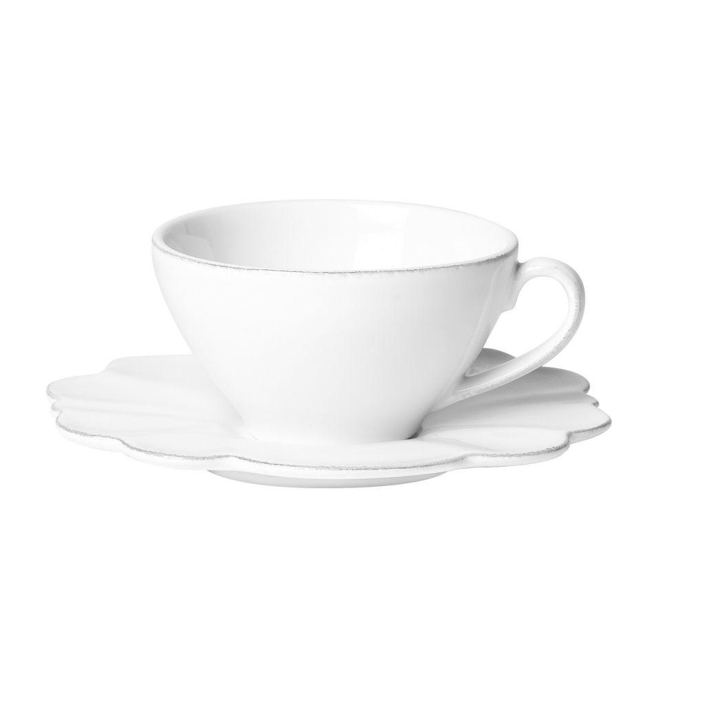 CÔTÉ TABLE Šálek s podšálkem Petale, bílá barva, keramika