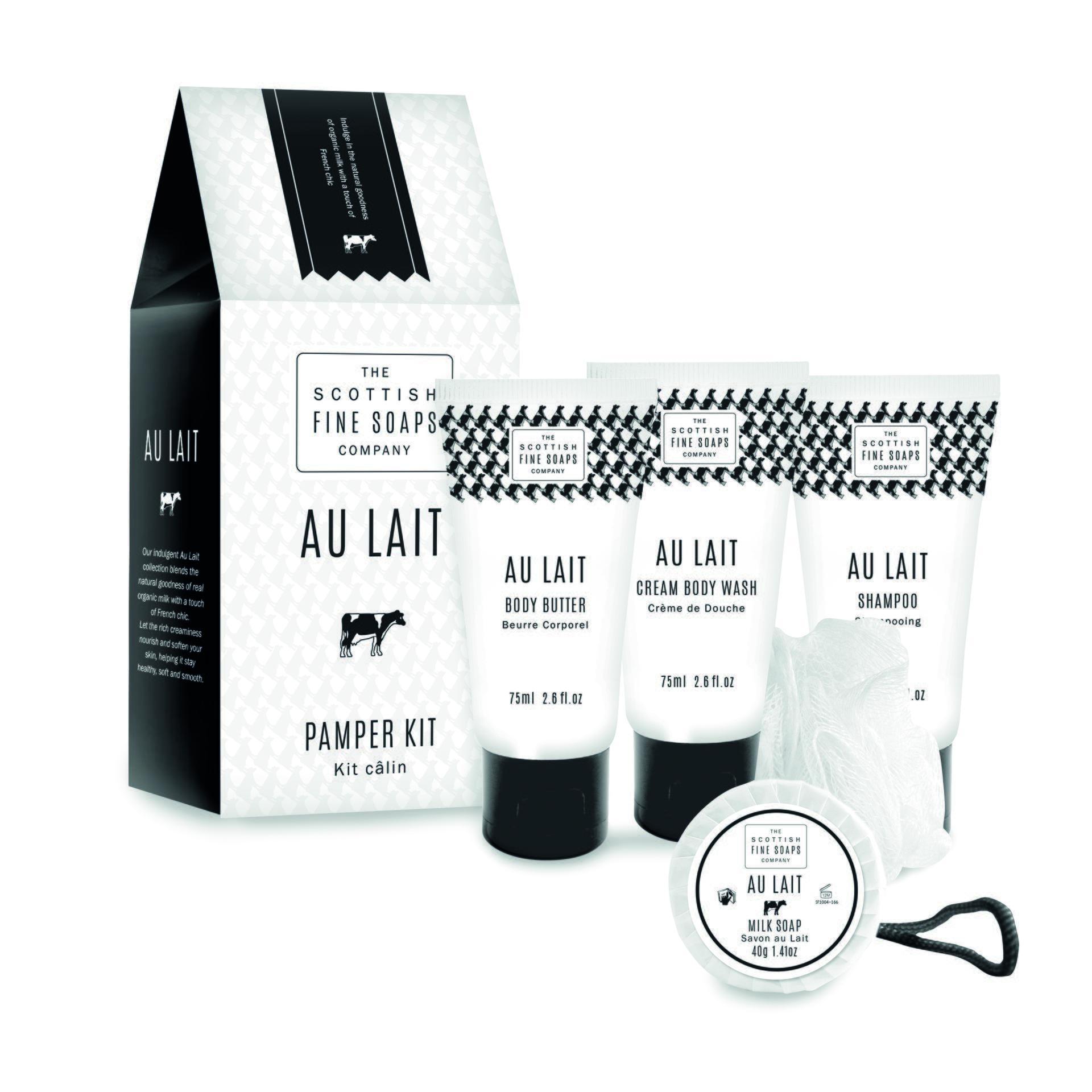 SCOTTISH FINE SOAPS Malý dárkový balíček AU LAIT, černá barva, bílá barva - Scottish Fine Soaps Au Lait tělové máslo 75 ml + sprchový gel 75 ml + šampon 75 ml + mýdlo 40 g + žíňka dárková sada
