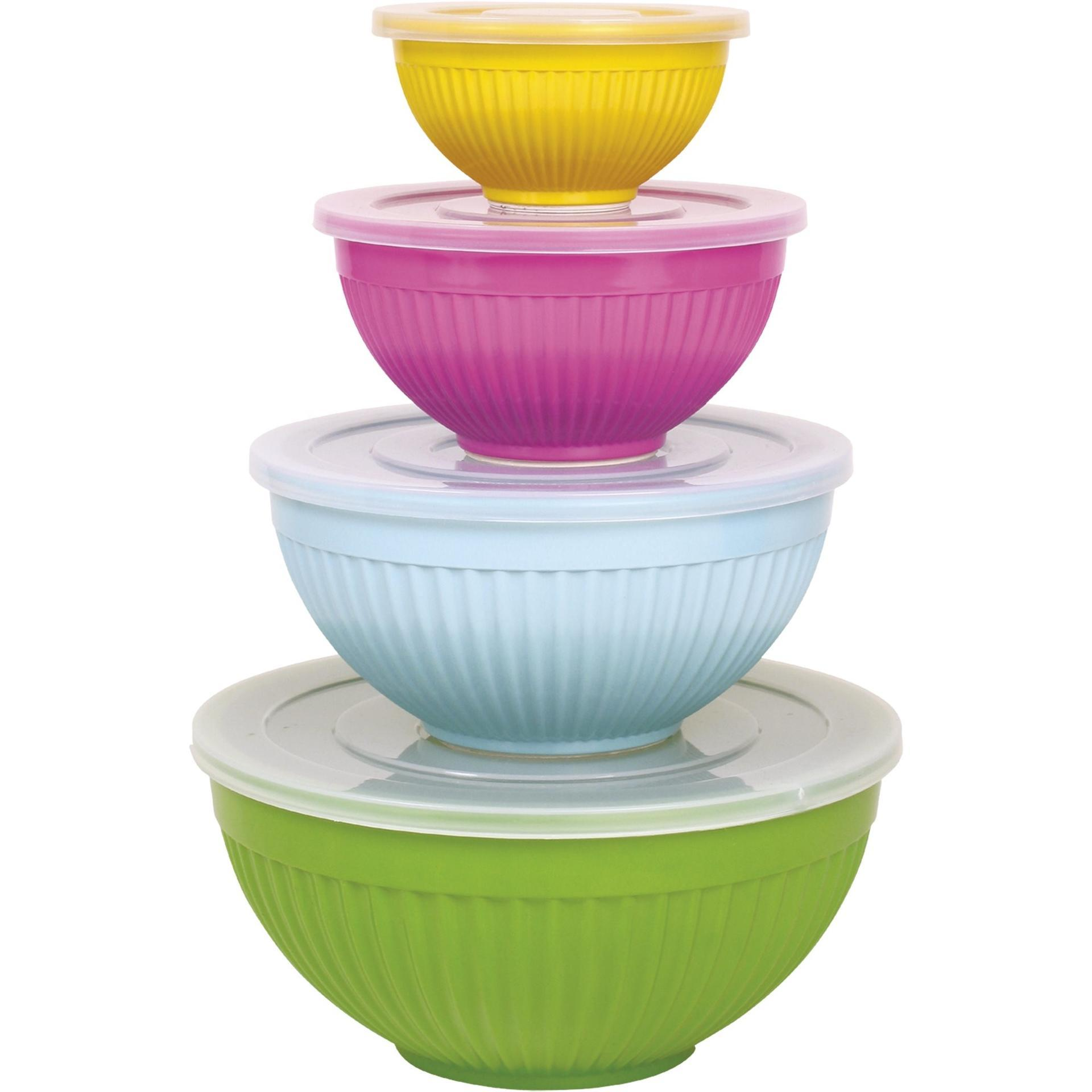 rice Melaminová miska s víčkem 2 A - zelená, růžová barva, modrá barva, zelená barva, žlutá barva, melamin