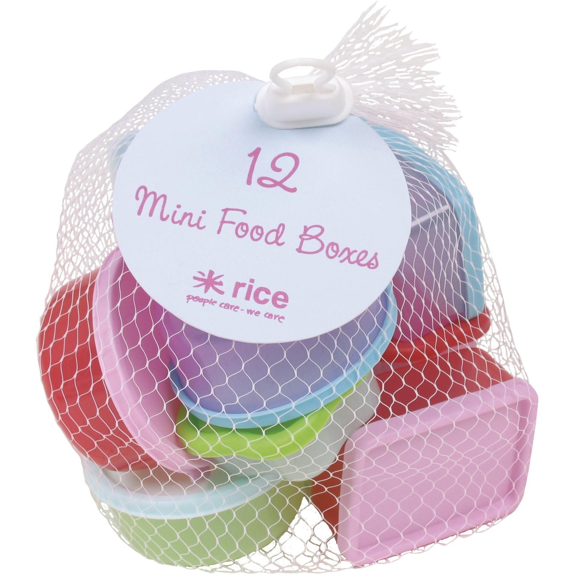 rice Plastové dózičky s víčky - set 12 ks, červená barva, růžová barva, fialová barva, modrá barva, zelená barva