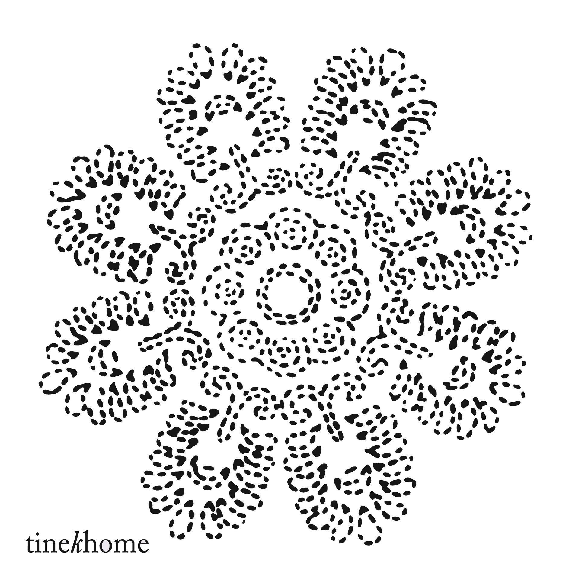tineKhome Papírové ubrousky Lotus flower - 50 ks, černá barva, bílá barva, papír