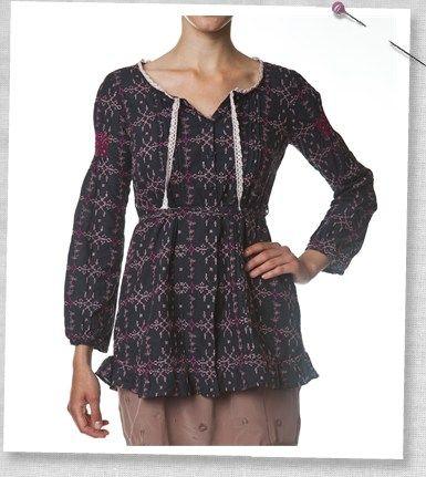 ODD MOLLY Bavlněná černá tunika 069 Velikost 4, černá barva, textil