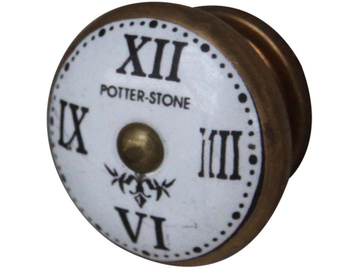 Chic Antique Úchytka Roman numeral, žlutá barva, černá barva, bílá barva