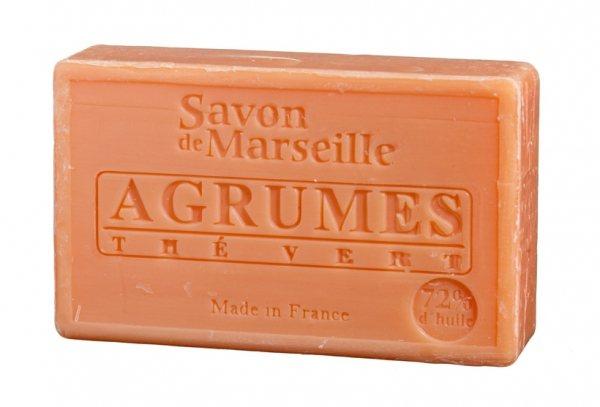 LE CHATELARD Marseillské mýdlo 100 g - citrusové plody a zelený čaj, růžová barva
