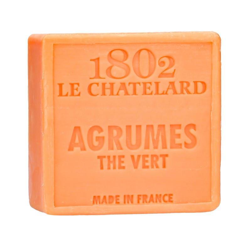 LE CHATELARD Mýdlo z Marseille 100 g - citrusové plody a zelený čaj, růžová barva