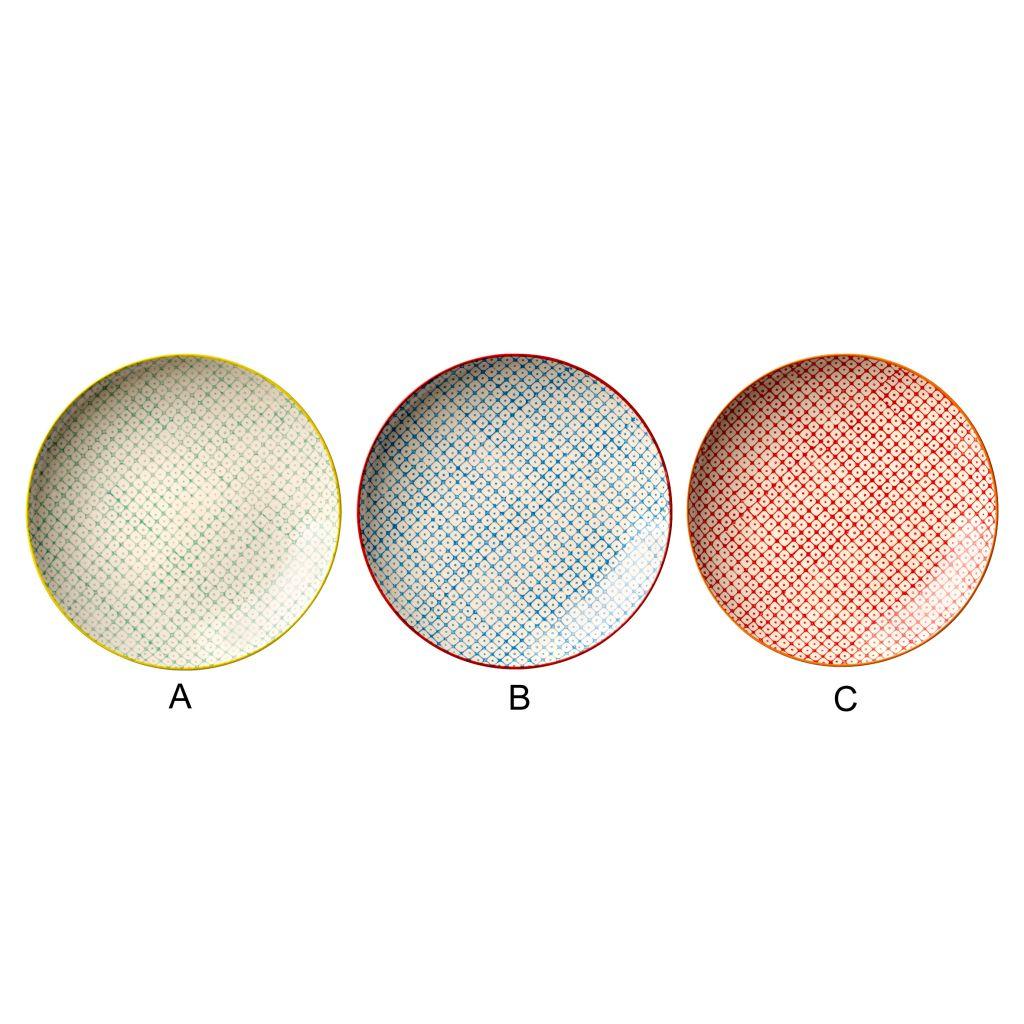 Bloomingville Keramický talíř Tia 20 cm C - červený, červená barva, modrá barva, zelená barva, keramika
