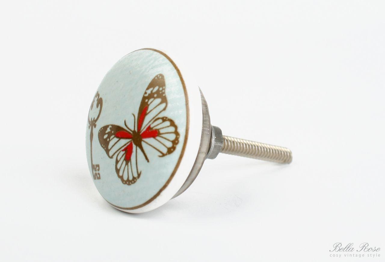 La finesse Keramická úchytka Butterfly - key, modrá barva, hnědá barva, porcelán