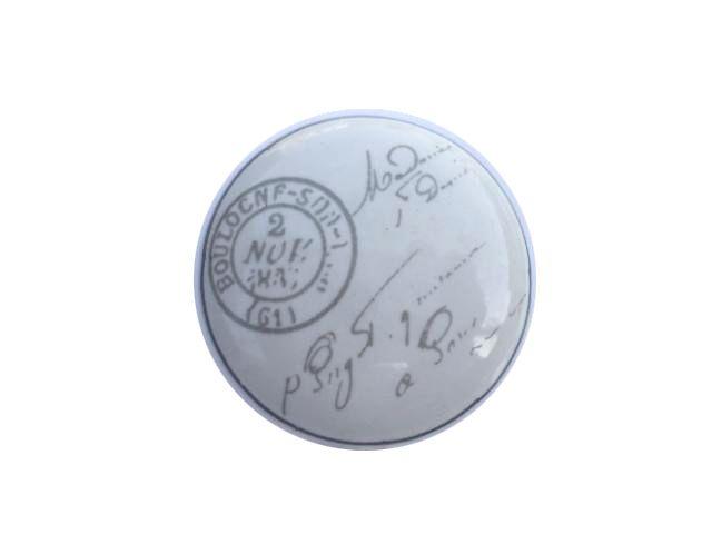 La finesse Porcelánová úchytka Stamp, šedá barva, bílá barva, porcelán 40 mm