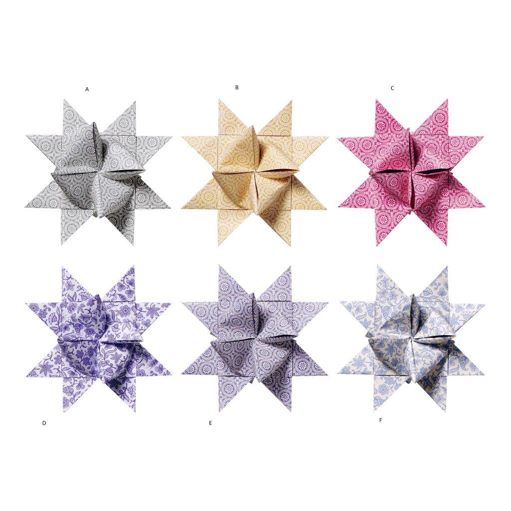 Bloomingville Skládané hvězdy - 6 barev A - hnědá, multi barva, papír