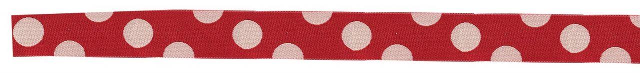 Maileg Puntíkovaná stuha red, červená barva, bílá barva, textil