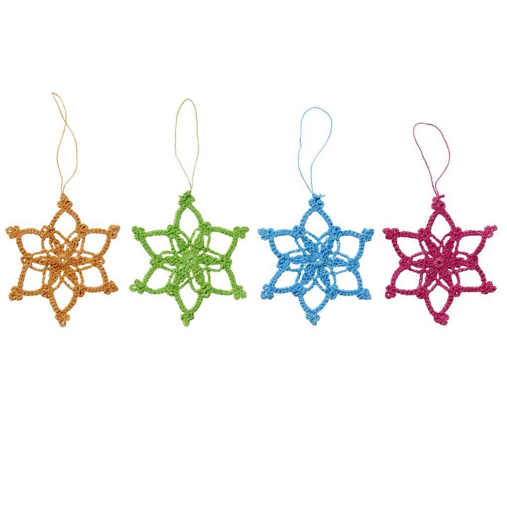 Bloomingville Háčkovaná hvězda Oranžová, růžová barva, modrá barva, zelená barva, oranžová barva, textil