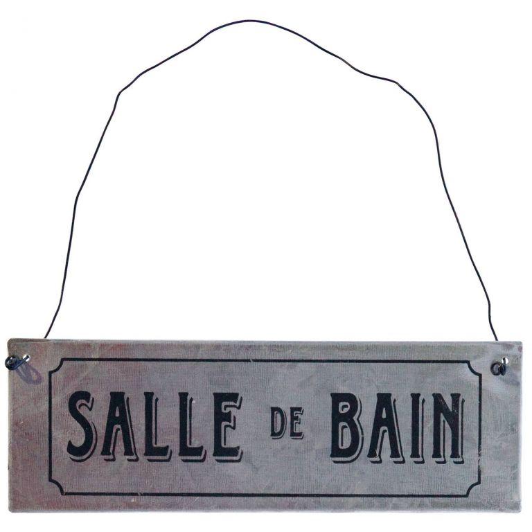 Bloomingville Plechová cedulka SALLE DE BAIN, šedá barva, černá barva, kov