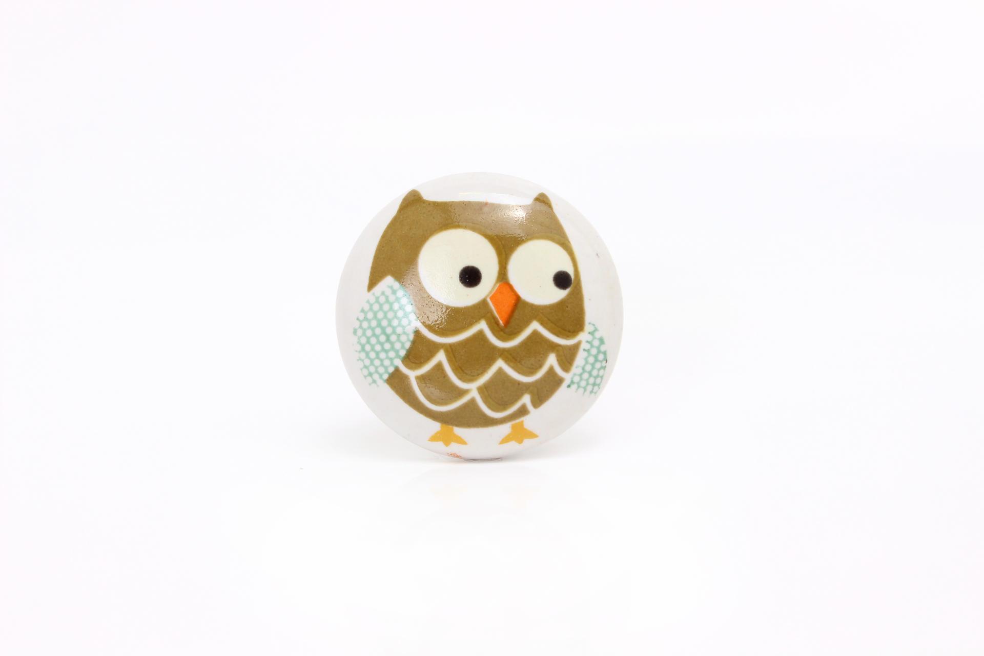 La finesse Porcelánová úchytka Owl, multi barva, porcelán 40 mm