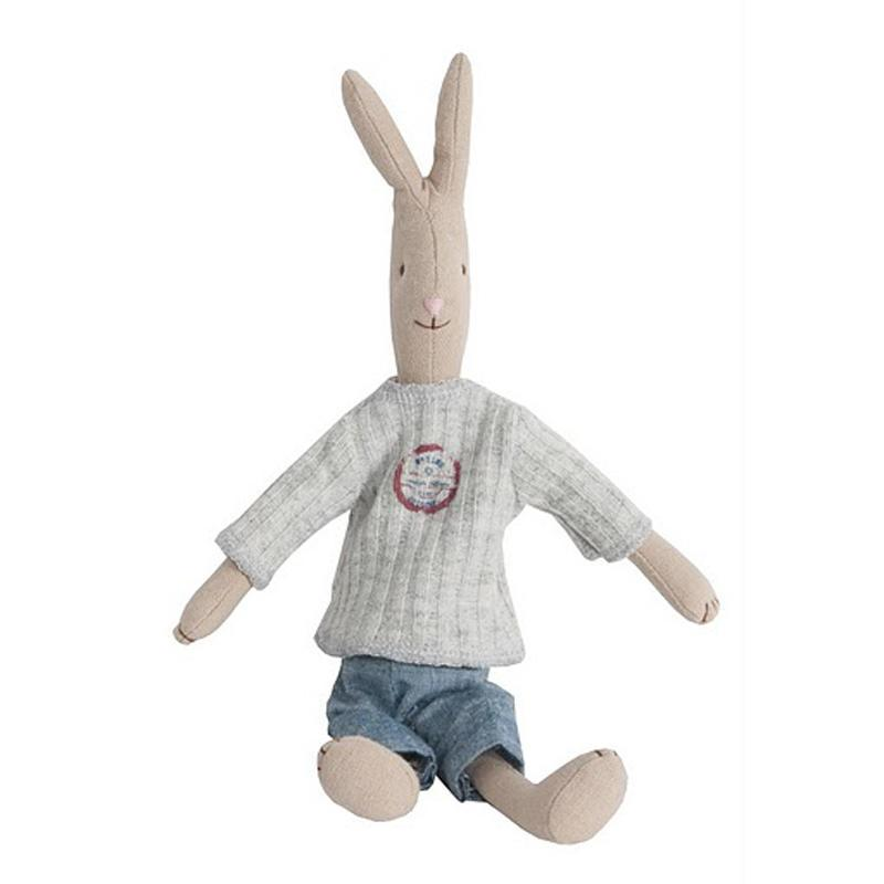 Maileg Zaječí kluk David - mini, béžová barva, šedá barva, multi barva, textil