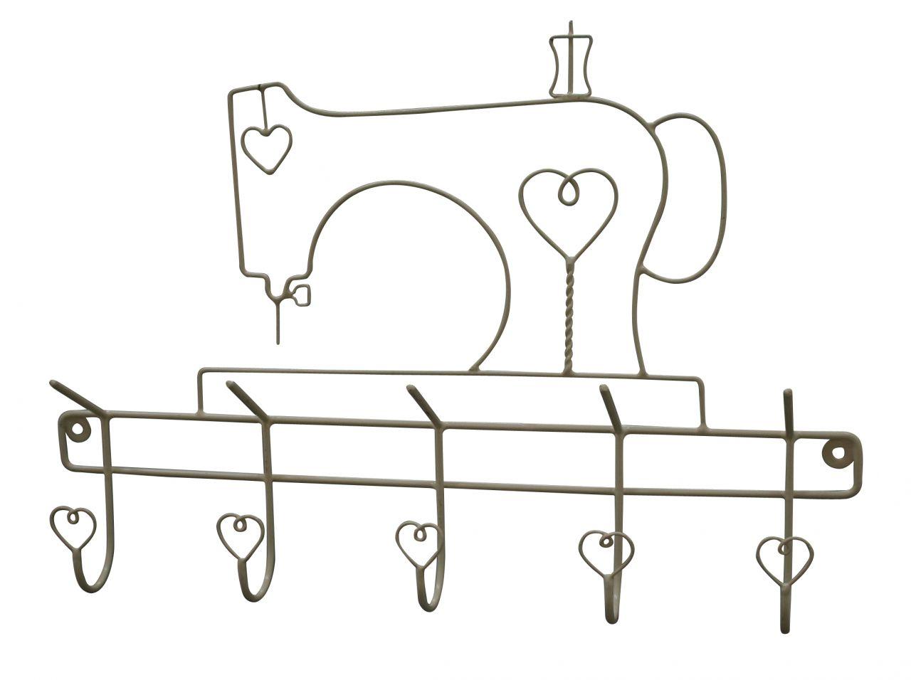 Krasilnikoff Věšák Šicí stroj - krémový, béžová barva, kov