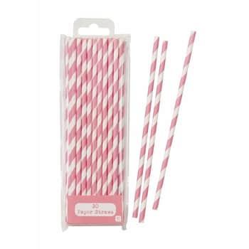 Papírové slámky Pink Stripe - set 30 ks