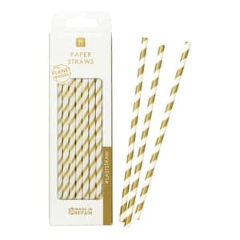 Papírové slámky Gold Stripe - set 30 ks