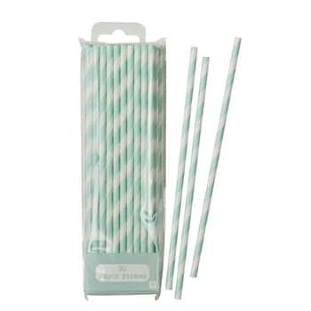 Papierové slamky Mint Stripe - set 30 ks