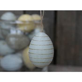 Závěsné plastové vejce Light Blue Stripes