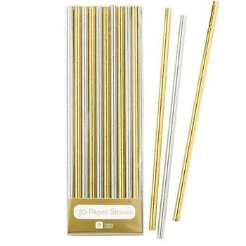 Papierové slamky Silver Gold - set 30ks