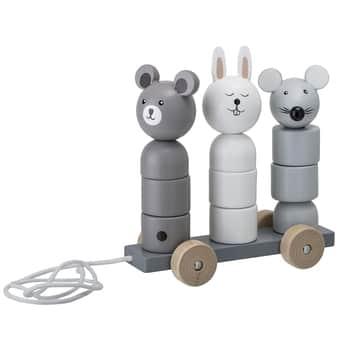 Dřevěná tahací hračka Lotus Grey