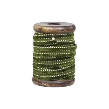 Zamatová stuha scievkou Olive Green - 5m