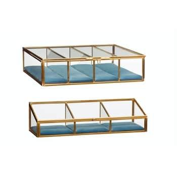Skleněný box spřihrádkami brass glass