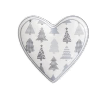 Porcelánový tácek Heart Christmas Trees