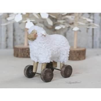 Dekorace Sheep on Wheels 13 cm