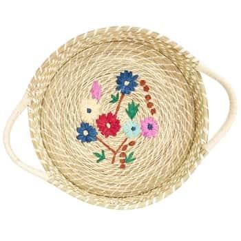 Košík zrafie Flower Embroidery White