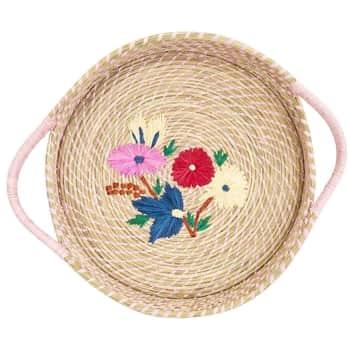 Košík zrafie Flower Embroidery Pink