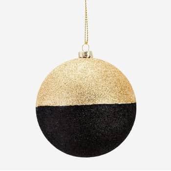 Třpytivá vánoční baňka Black/Gold