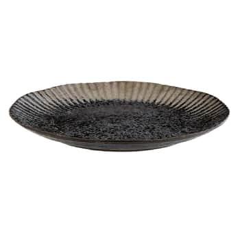 Čierny keramický tanier Black Silver Plate