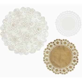 Sada papírových dekorací Gold Paper Doilies 24 ks