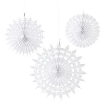 Závěsné papírové dekorace Snowflake 3 ks