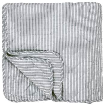 Prošívaný bavlněný přehoz Dusty Blue Stripes 130x200