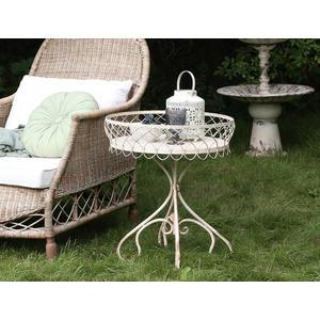 Kovový stolček Vintage Cream