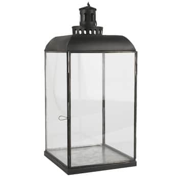 Veľký sklenený lampáš Black