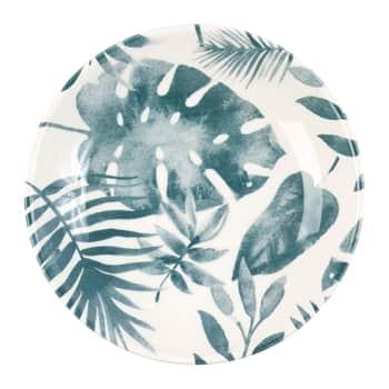 Hlboký keramický tanier Blue Leaf Printing